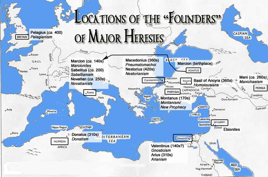 Rlst 133 syllabus and readings map of the founders of major early christian heresies sciox Choice Image